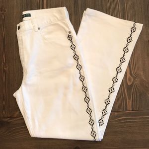 Ralph Lauren white embellished bootcut jeans